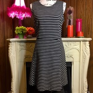 J.Crew Black and White Stripe Fit and Flare Dress